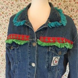 Vintage 80's 90's Armani Jean Jacket Fringe Alpaca